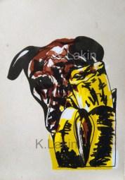 """Banana Dog"", 2014, lithograph on paper."