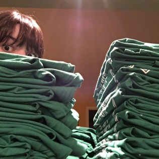 Ashley folding t-shirts