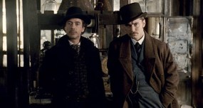 """SHH-FP-011(L-r) ROBERT DOWNEY JR. as Sherlock Holmes and JUDE LAW as Dr. John Watson in Warner Bros. Pictures' and Village Roadshow Pictures' action-adventure mystery """"Sherlock Holmes,"""" distributed by Warner Bros. Pictures."""