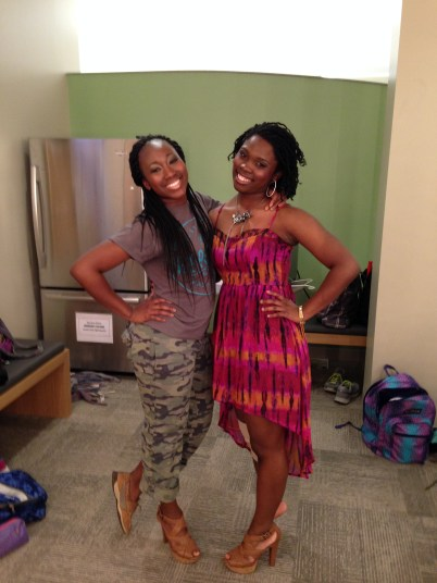 One of my best friends, Erica Jewelle and I post Spring Concert Performance.
