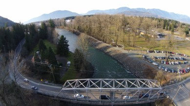 Aerial picture over the Vedder Bridge