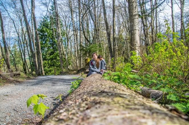 Sitting on a log taking a break
