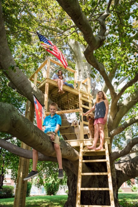 The Sikora family in their treehouse, built into one of the oldest trees in Connecticut. Black Rock, Conn, July 26, 2016. their treehouse, built into one of the oldest trees in Connecticut. Black Rock, Conn, July 26, 2016.