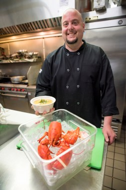Chef and owner Jamie Pantanella of The Blind Rhino restaurant and bar in Nowalk, Conn. with a bowl of the lobster chowder he will be developing throughout the summer for the annual Chowderfest in October. May 26, 2016.
