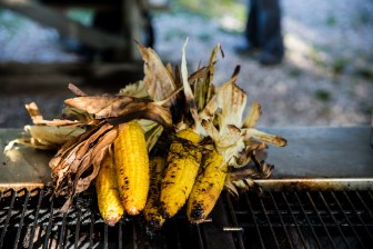 Grilled corn, the perfect side for a clambake. Sheffield Island, Norwalk, Conn. June 30, 2016.