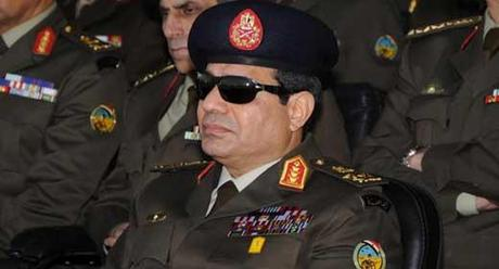 General—excuse me, Field Marshal—Abdul Fattah as-Sisi, dark glasses and all, the vital accessory of an Arab tyrant