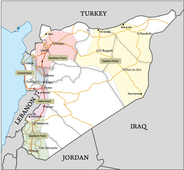 A map of the Five Fronts command, an early effort at rebel unification that split the country into five strategic zones. The Sahel or Coast Front is also called the Central Front