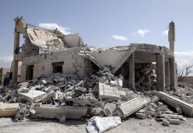 Aftermath of strikes on Jabhat an-Nusra's HQ in al-Muhandisin district of Aleppo City, Sept. 27, 2014