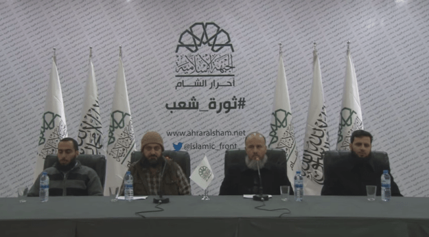 A still  from the video announcing the Ahrar a-Sham-Suqour a-Sham merger