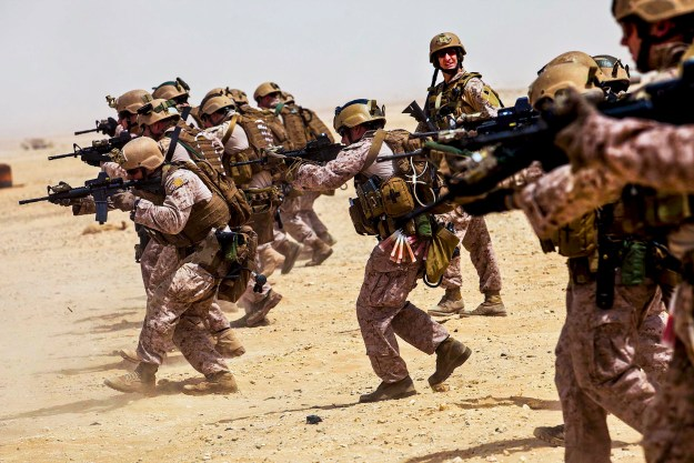 26th Marine Expeditionary Unit (MEU) Maritime Raid Force Marines fire M4 Carbines while conducting a marksmanship training exercise at a range in Qatar, April 22, 2013. Eagle Resolve is an annual multilateral exercise designed to enhance regional cooperative defense efforts of the Gulf Cooperation Council nations and U.S. Central Command. The 26th MEU is deployed to the 5th Fleet area of operations aboard the Kearsarge Amphibious Ready Group. The 26th MEU operates continuously across the globe, providing the president and unified combatant commanders with a forward-deployed, sea-based quick reaction force. The MEU is a Marine Air-Ground Task Force capable of conducting amphibious operations, crisis response and limited contingency operations. (U.S. Marine Corps photo by Cpl. Christopher Q. Stone, 26th MEU Combat Camera/Released)