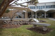The education building offers a tranquil outdoor space for students and faculty to take a break. The education building is structurally sound, and a stimulating space.
