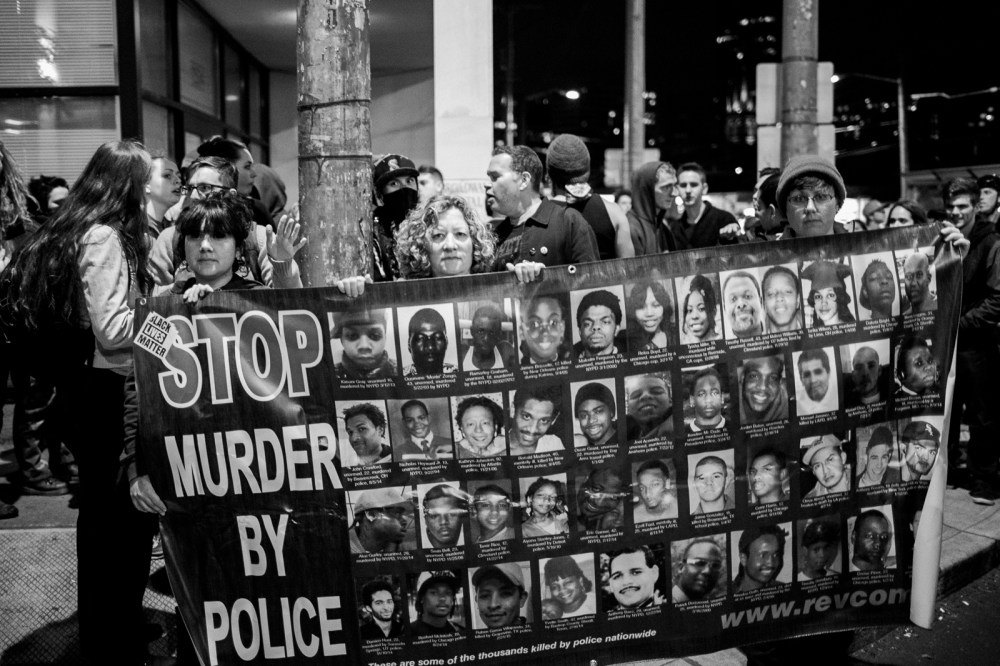 banner of those killed by police