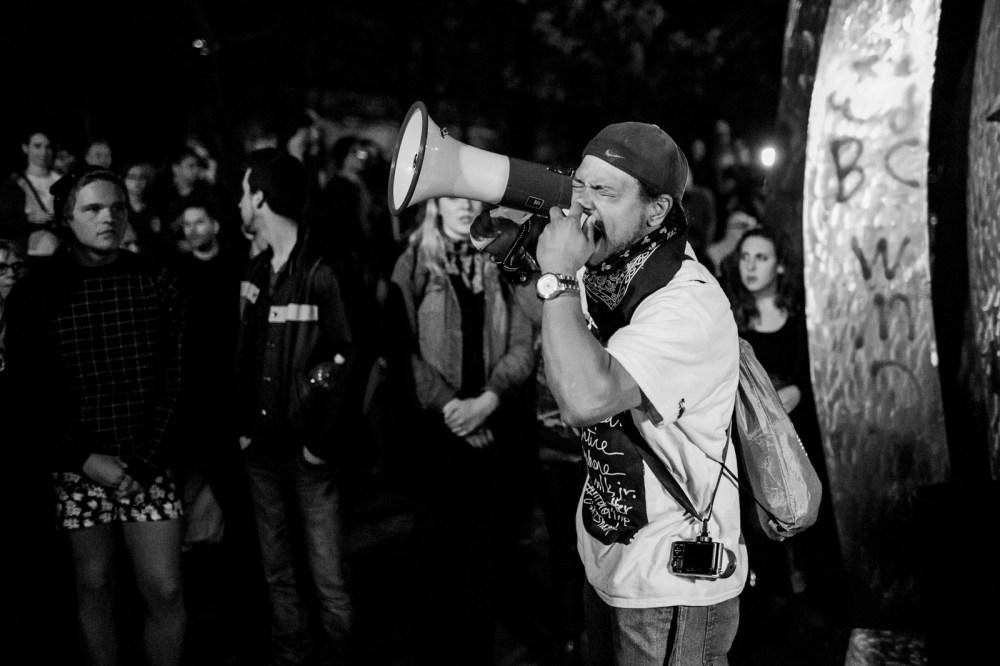 emotional speech on megaphone