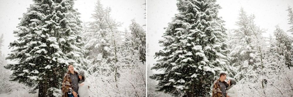 snow couple trees