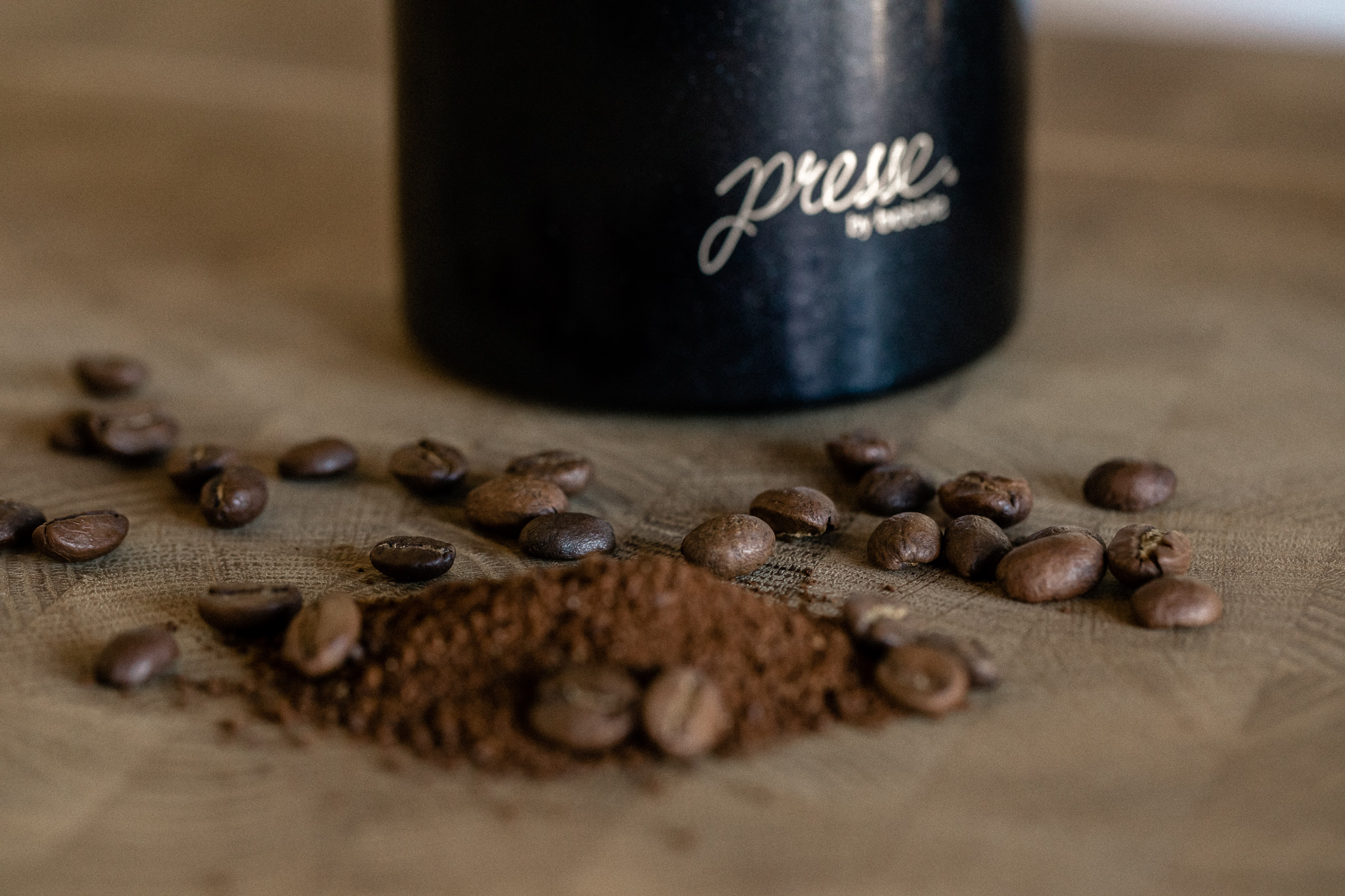 french press and beans