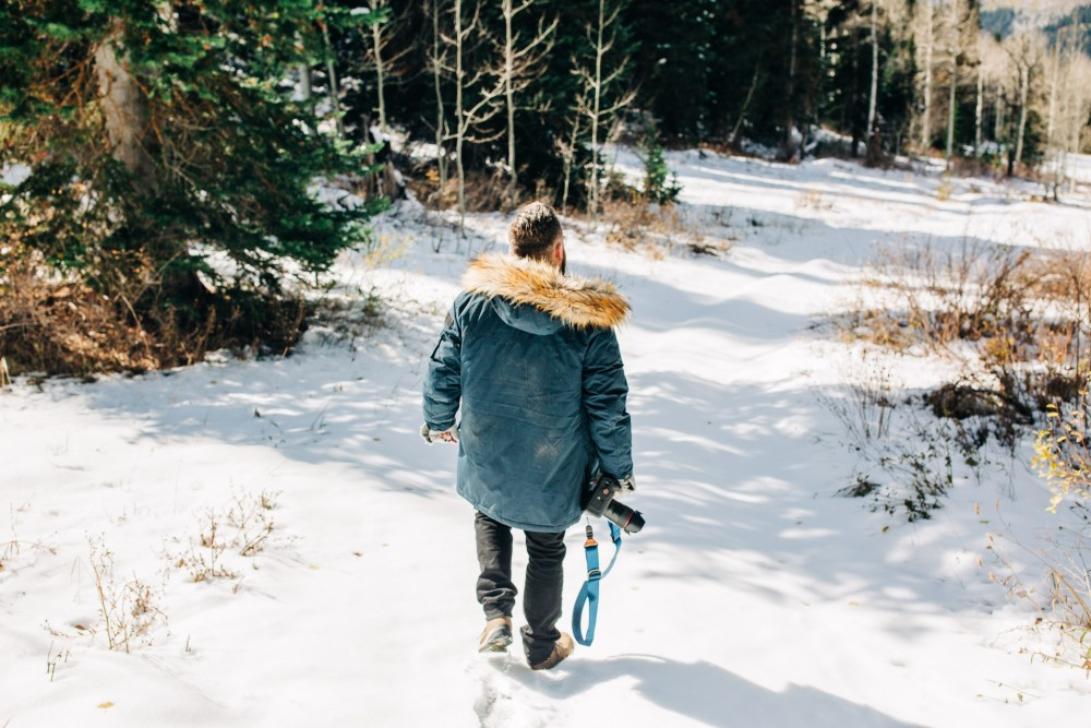 hiking through the snow in jcrew jacket