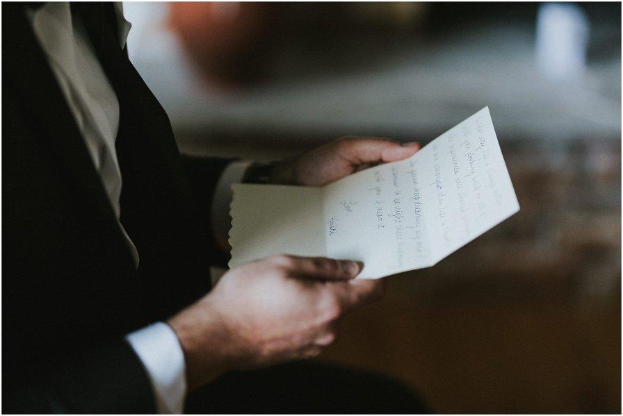 Groom Reading Letter Chicago Wedding Engagement Photographer
