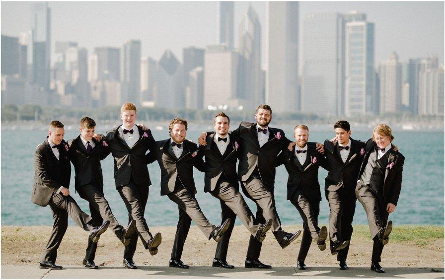 Groomsmen Lakefront Chicago Illinois Wedding Engagement Photographer