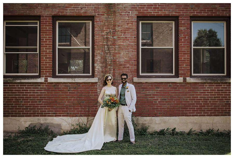 Champaign wedding bride and groom