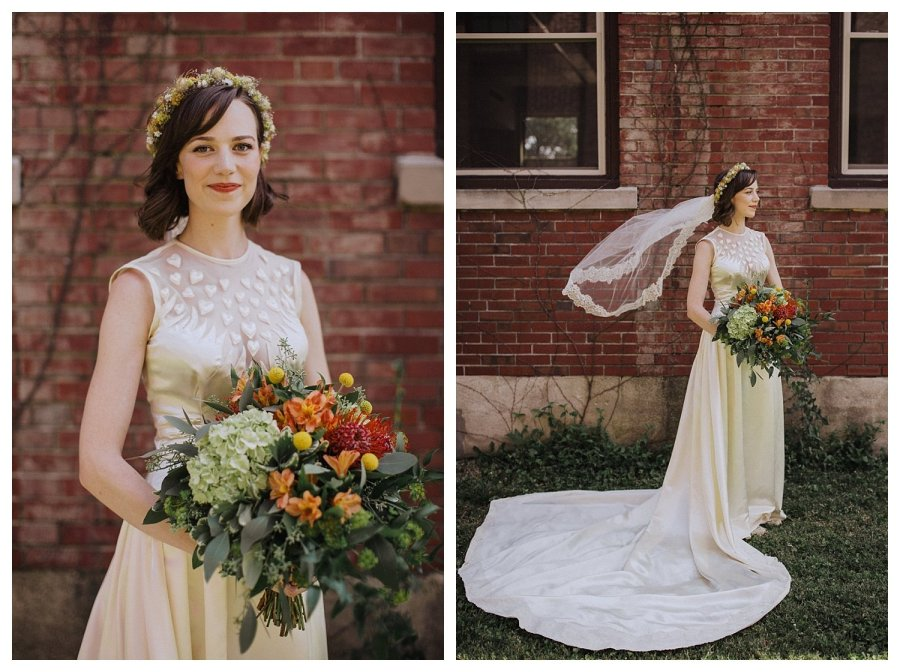Champaign wedding bride and flowing veil