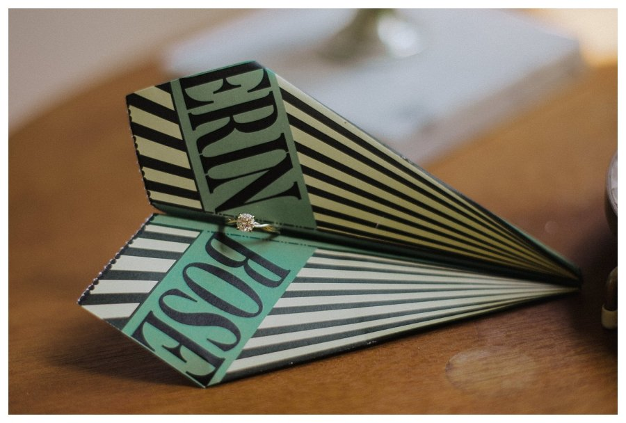Wedding Ring in Paper Airplane