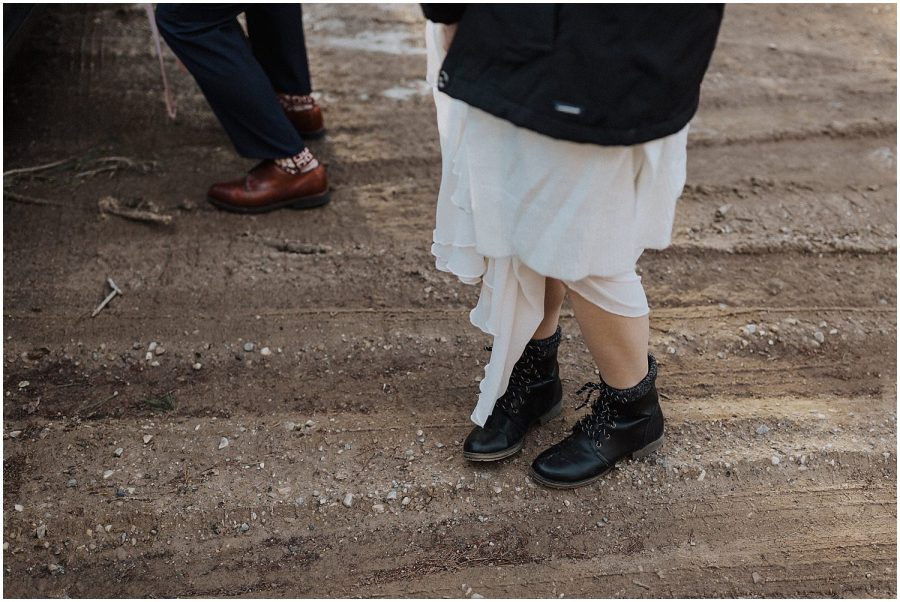 elopement bride in her hiking boots