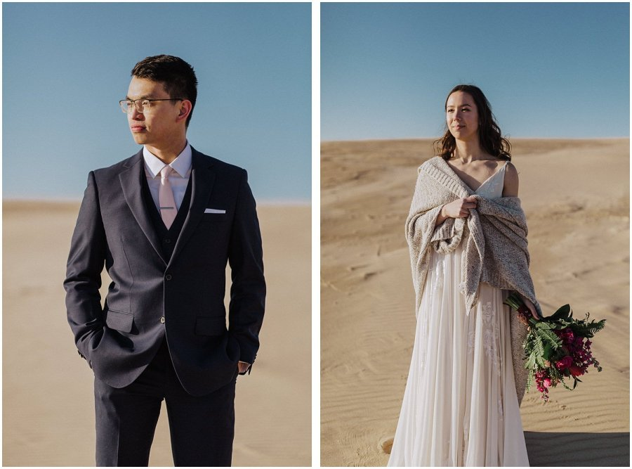 desert inspired elopement couple
