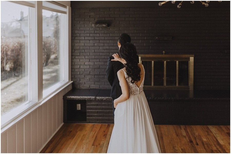 bride walking up behind the groom Chicago wedding photographer kyle szeto