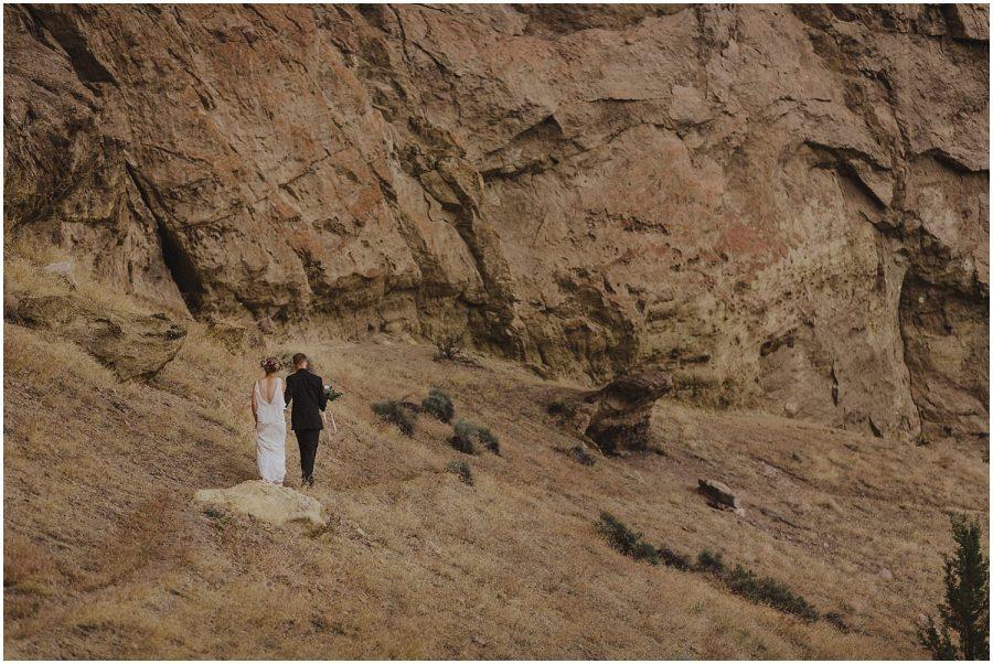 wedding couple walking at smith rock oregon elopement and wedding photographer kyle szeto