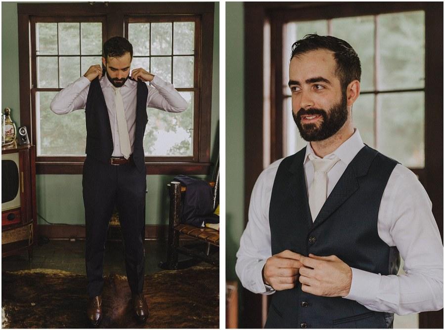 groom getting ready at camp wandawega wisconsin wedding elopement photographer kyle szeto