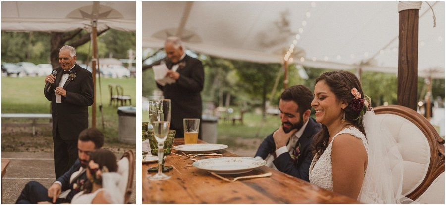 father of the bride giving a toast wisconsin wedding elopement photographer kyle szeto