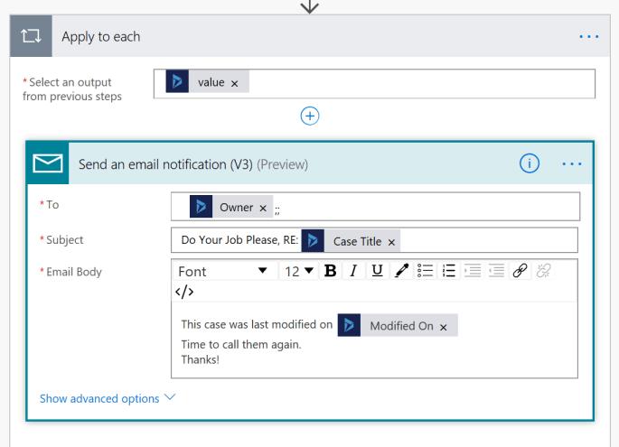 Flow Screenshot of logic to apply to each