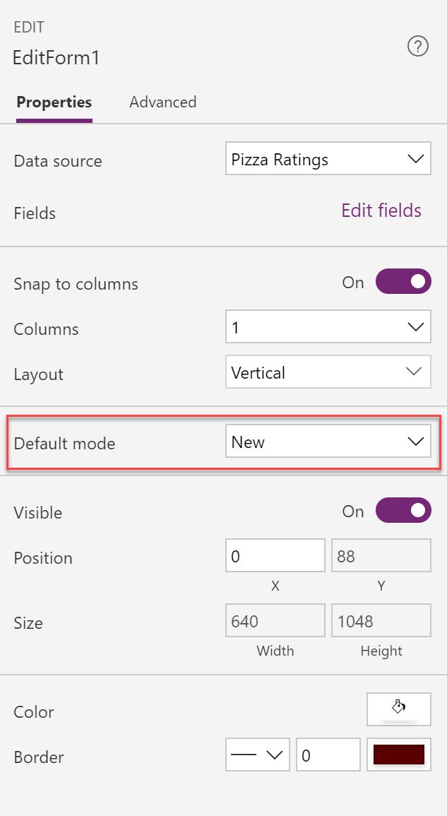 Power Apps Form Default Mode