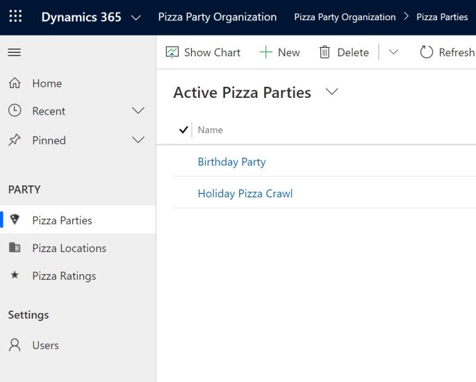 Model Driven App Pizza Party Organization