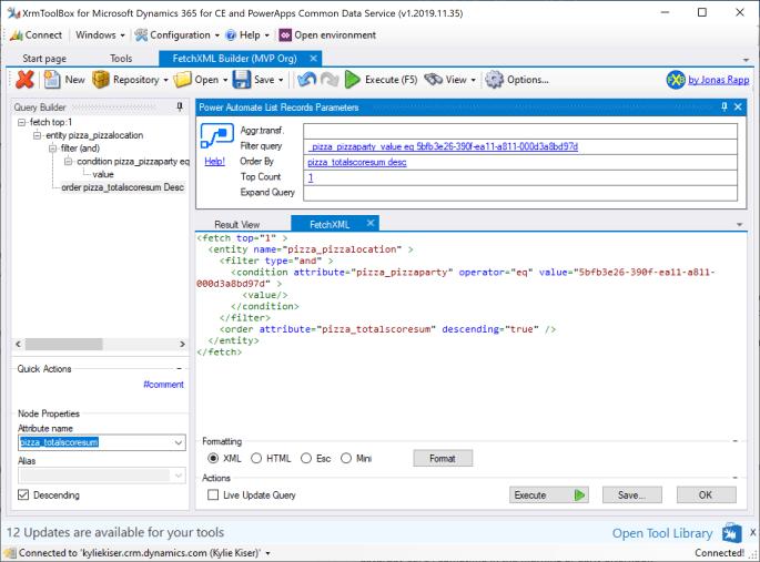 FetchXML Builder for Power Automate Parameters