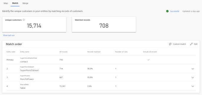 Customer Insights Match Result