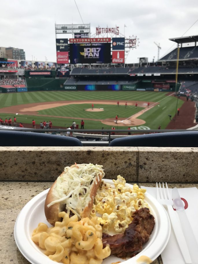 Hot dog and mac and cheese at Washington Nationals Park