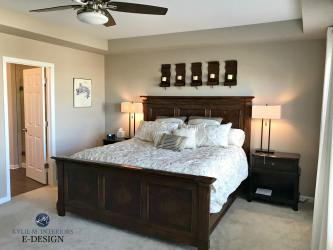 beige sherwin williams paint neutral bedroom dark wood furniture carpet barcelona colour colours colors bedrooms room painted ground living brown