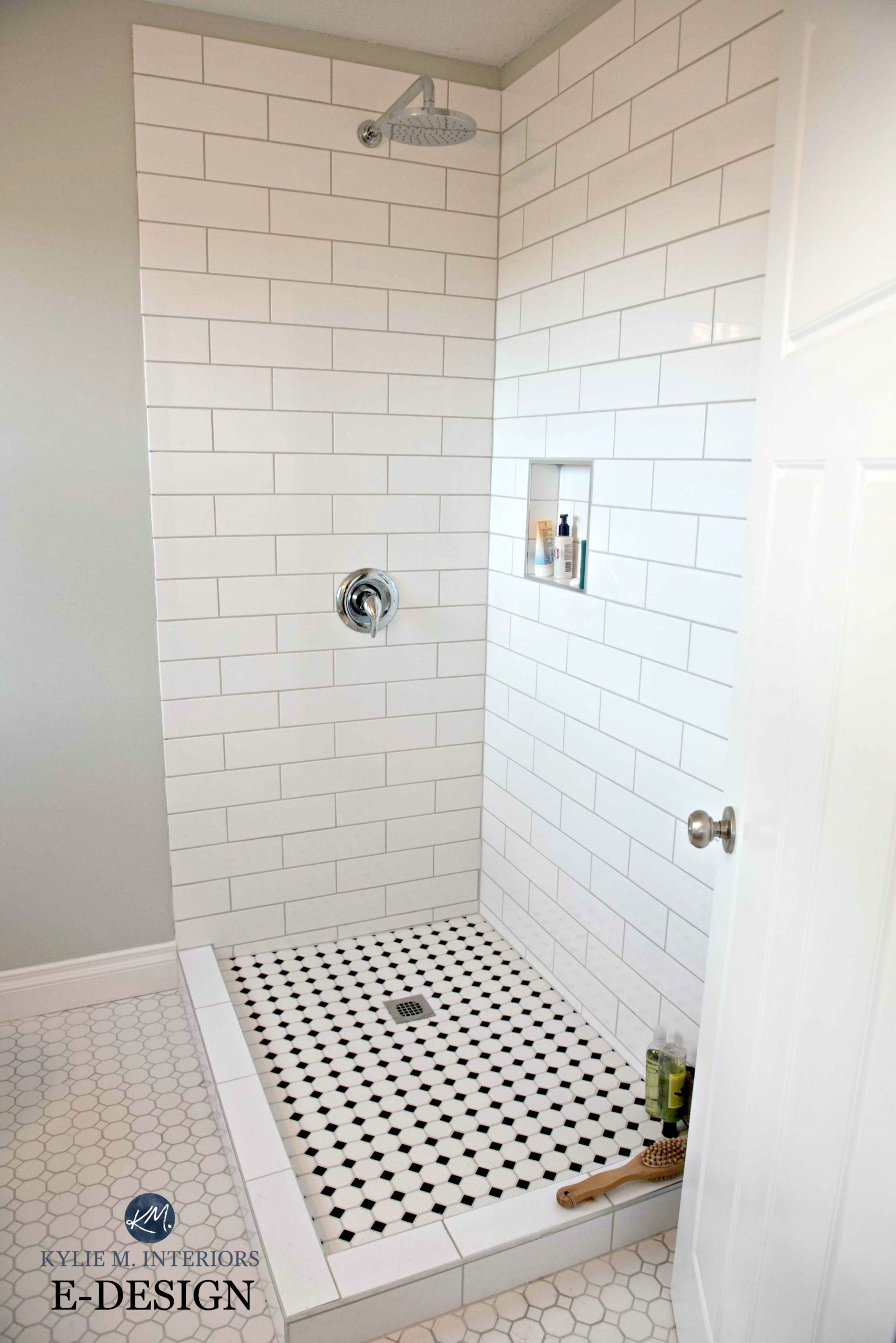 Subway Tile Bathroom Small Bathroom Shower Subway Tile Hexagon And Benjamin Moore