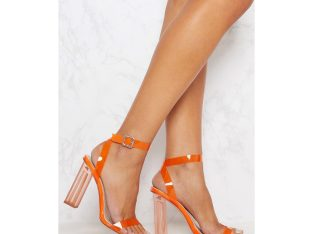 Orange clear ankle strap heel