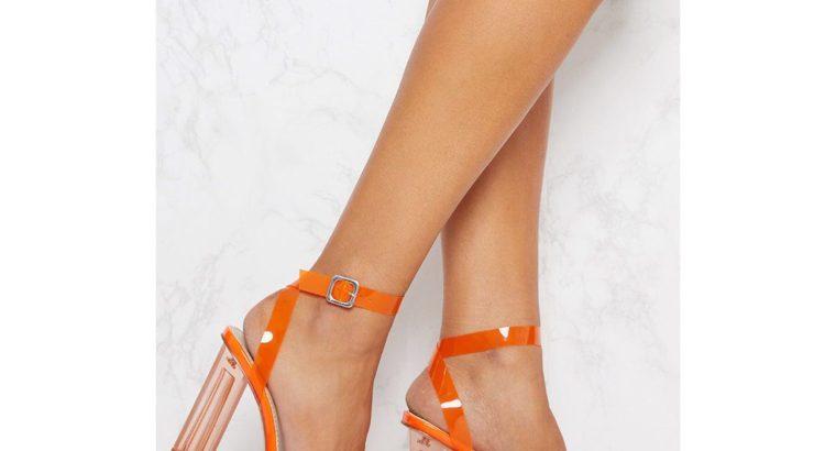 Orange clear ankle strap heel
