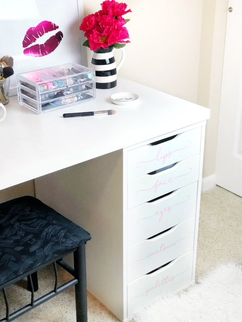 Drawer organixation is so important in your makeup vanity! I got these super cute vinyl sticker decals from GRL PWR Vinyl custom made so that I can see exactly what is in each drawer!