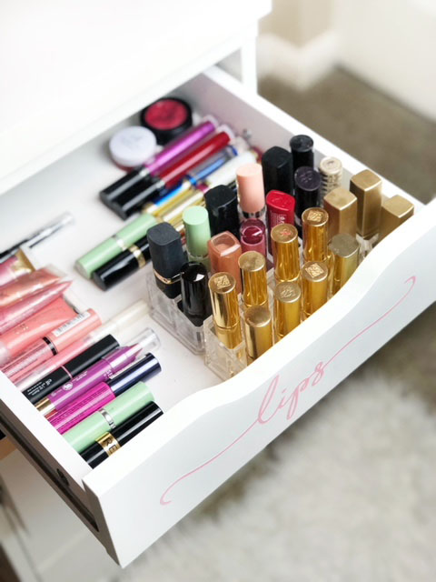 Acrylic organizers make everything look more glamorous! You can see all of your beauty products and the small drawers and compartments keep all of the smaller items easily in place.