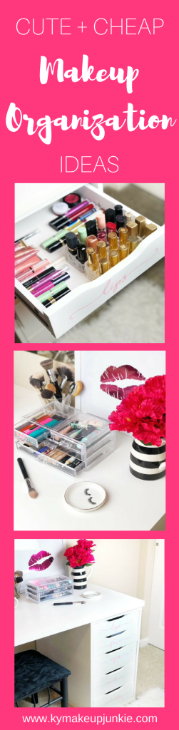 Have a lot of makeup products? Keeping your beauty items clean and organized is key! Here find ideas to keep your makeup station nice and tidy with cheap items that look expensive!