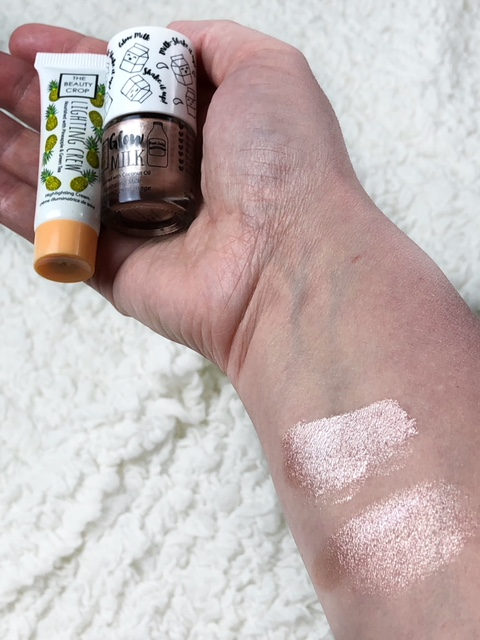 Swatches of Lighting Crew Highlighting Cream on the left, Glow Milk Liquid Highlighter on the right I can't get enough of this cream highlighter. I think I'm a changed woman. Powder highlighters might not be my go-to anymore! Made with Vitamin C and Pineapple extract, this formula is packed with antioxidants and gives the most beautiful, radiant glow. It blends effortlessly and layers well, too. Every time I wear it, I get compliments! My fave place to wear it is on my cheekbones. But it's so fab when used as a strobing technique also. This is one of my new favorites and I feel like it would look great on any skin tone!