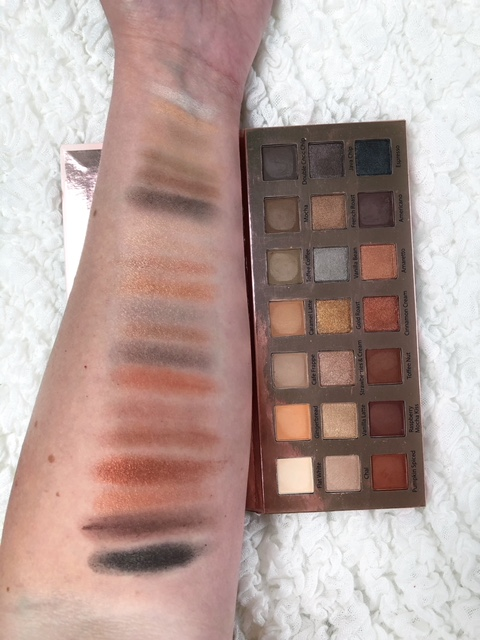 Espresso Yourself Eyeshadow Palette: I LOVE this palette. It has 21 shades of very pretty pigmented colors in the perfect range of matte and shimmer finishes. I love palettes that feature both! The eyeshadows are formulated from coffee extract, which is full of caffeine and antioxidants! This combo helps reduce puffiness, improve dark circles, and has a brightening effect. I've found that the range of colors are so fun and would look great on almost any skin tone, in my opinion. It's also easy to get a natural-looking daytime application but also a full on glam look with this palette! So versatile! These colors are very pigmented, and I reach for this palette just as much as my beloved Too Faced or Morphe. If you love all natural makeup products and quality eyeshadows, then this palette is a MUST. It also has a better price tag than many of those palettes! Here were my first quick swatches: