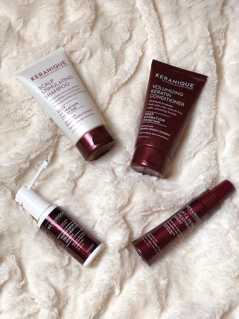 Hair Loss Solutions with Keranique Hair Regrowth System. This 4-piece system includes scalp stimulating shampoo, volumizing keratin conditioner, lift and repair treatment spray and hair regrowth treatment with precision sprayer.