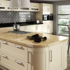 High Gloss Acrylic Kitchen Cabinets Retro Design Amalfi Cream - Kyme Kitchens