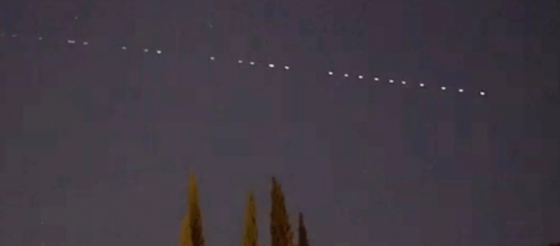 strange line of lights in the sky was