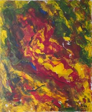 Le voyageur jaune, art abstrait, Kyna de Schouël artiste peintre